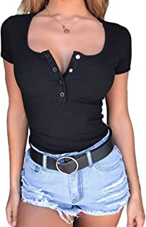 Womens Short Sleeve Tops and Blouses Button Up Ribbed Tunic Tee Shirts