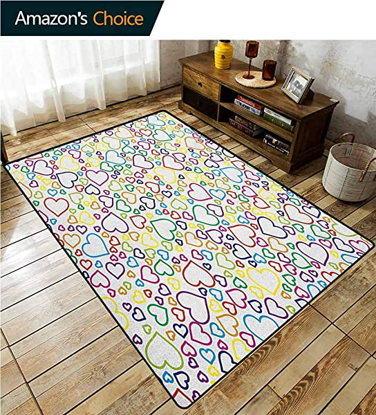 YucouHome Love Non Slip Area Rug Girls Bedroom Affection Doodle Valentines Pleasure Stylized Flourishes Curls Classics Artwork Print Fashionable High Class Living Bedroom Rugs 2 5 X 9 Multicolor
