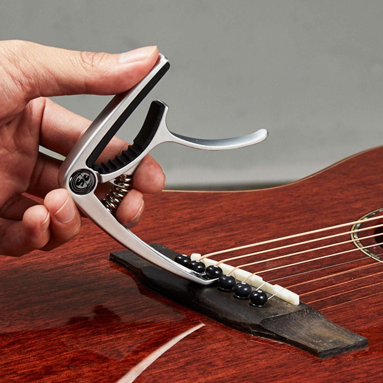 Electric Guitar Black Ukulele SOUGIC Guitar Capo,Professional guitar accessories Zinc Metal Capo for 6 String Acoustic Guitar Banjo Bass Mandolin