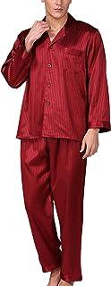 パジャマ メンズ 上下セット 長袖 長ズボン 前開き シルク ポリエステル 夏秋用 涼しい 肌触り良い 大きいサイズ オシャレ ゆったり 男性 プレゼント 敬老の日