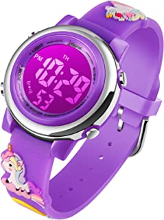 Unicorn Gifts for Girls Age 3-10 - Upgrade 3D Cute Cartoon 7 Color Lights Kids Digital Waterproof Sports Outdoor Watches with Alarm Stopwatch for 3-10 Year Boys Girls Little Child Purple - Best Gift