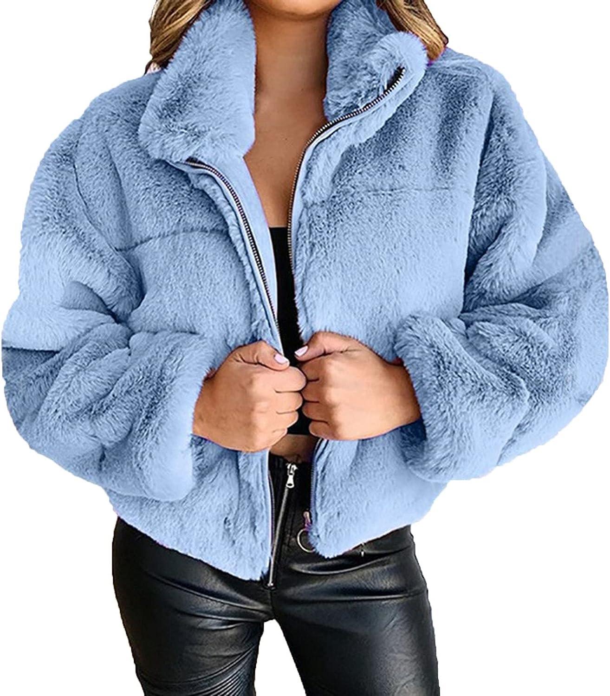 VonVonCo Cardigan Sweaters for Women Fashion Winter Pure Color Zipper Casual Elegant Plush Warm Short Jacket Coat