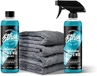 Ethos Waterless Car Wash + Wax Kit, 10X Concentrated, 160 Ounces When Diluted, Four Ultra Plush Microfiber Towels. Premium, Easy to Use Formula! The Most Efficient Way to Clean Your Vehicle Available!