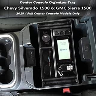EDBETOS Center Console Organizer Tray for 2019 Chevy Silverado 1500 / GMC Sierra 1500 Armrest Storage Box Insert - Full Ce...