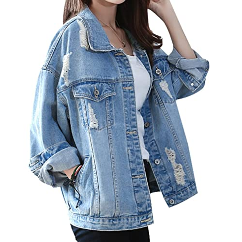 Womens Long Sleeve Denim Celeb Distress Ripped Jacket Size 8-14