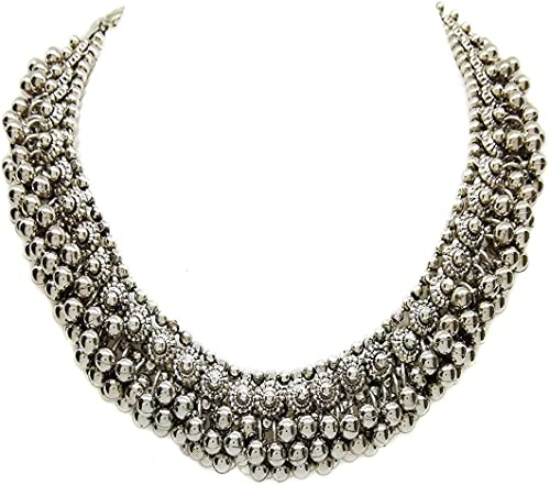 Total Fashion Traditional German Silver Necklace Boho Designer Oxidized German Silver Plated Choker Necklace Set for ...
