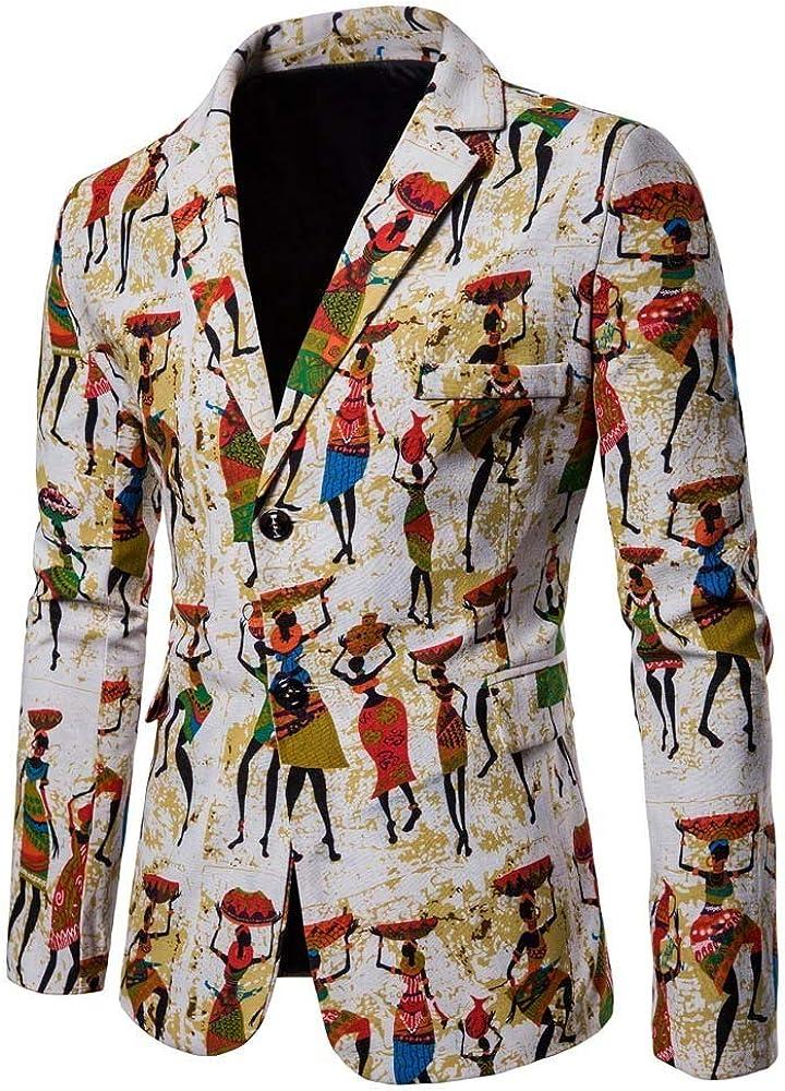 MODOQO Men's Suit Jacket Casual Slim Fit Dashiki Cardigan Blazer for Party Prom Blazer