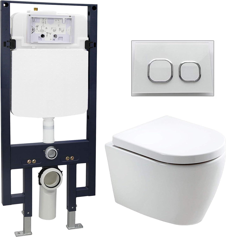 WC-Komplettpaket 20  WC B-8030 und Soft-Close Sitz mit Vorwandelement G3008 und Bettigungsplatte vorne, Bettigungsplatte Modell wei Glas