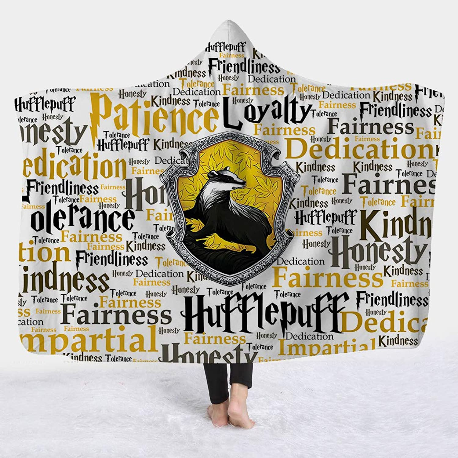 Super Soft Cozy Microfiber Thickened Fleece Throw Wearable Travel Hooded Blanket in Cap Warm for Couch Sofa Bedding
