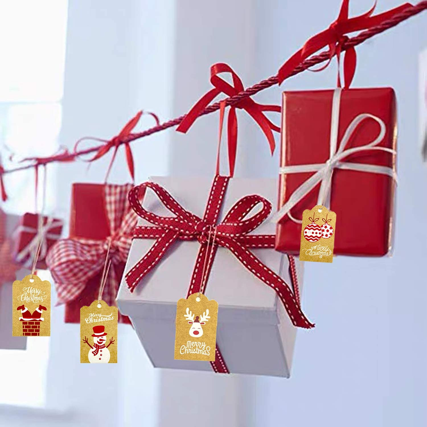 Christmas Gift Tags Xmas Gift Tag Kit 120 Pcs Xmas Kraft Paper Tags with 10M Cotton String and 10M Natural Jute String,for DIY Xmas Present Wrapping Paper and Xmas Tree Decoration