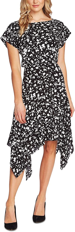 Vince Camuto Womens Printed Wide Neck Midi Dress B/W