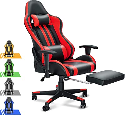 Soontrans PC Computer Chair for Adults Kids,Office Chair,High Back Computer Chair with 180° Tiltable,with Adjustable Armrest/Height, Headrest and Lumbar Support(Ruby Red)