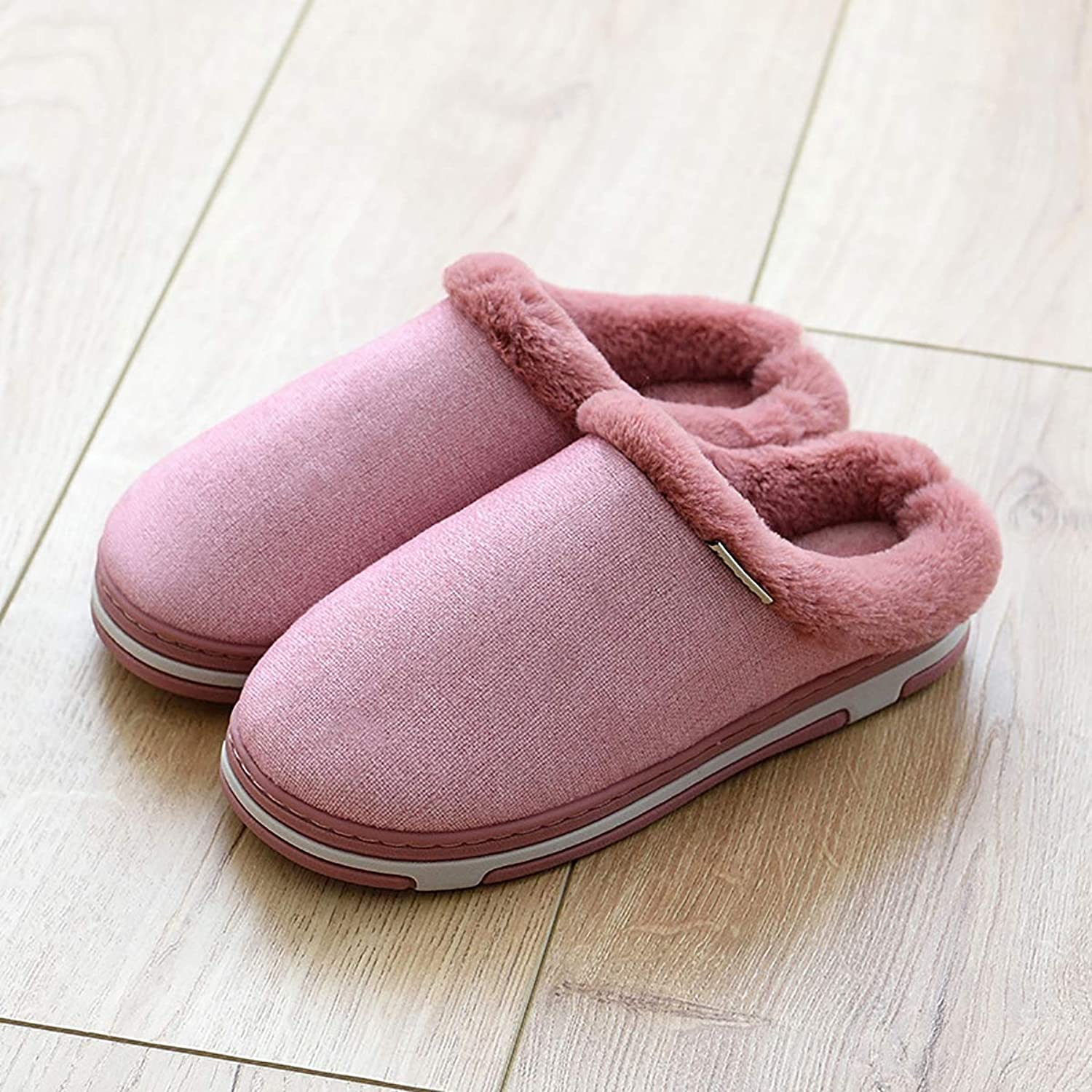 Thicken Plush Slippers Indoor Warm Non-Slip Cotton shoes Half-Pack Heel with Home shoes for Men and Women,Red,40 41