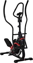 HOMCOM Bicicleta Elíptica de Fitness con Pantalla LCD y Resistencia Bidireccional Ajustable de 8 Niveles Portavasos Volante de Inercia de 7 kg y 2 Ruedas 103x71x157 cm Negro