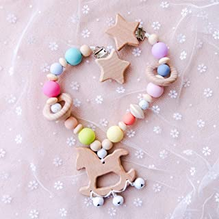 Chew Silicone Colored Beads Baby Stroller Toy Wooden Trojan Pendant Wtih Bells Sensory Activity Teether Rattle Cart Chain Beech Wood Star Head Metal Clip Pram String Links Clip On Pram