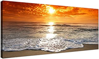 Cheap Canvas Pictures of a Tropical Beach Sunset for your Bedroom - Panoramic Seaside Wall Art - 1152 - Wallfillers® by Wallfillers