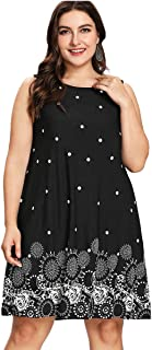Romwe Women's Plus Size Summer Sundress Floral Printed Sleeveless Casual A Line Dress