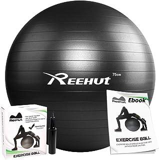 REEHUT バランスボール ヨガボール ピラティスボール エクササイズボール 耐荷重990KG 厚い 滑り止め アンチバースト 椅子 ダイエット器具 ストレス解消 全3色 55/65/75cm ポンプ付き