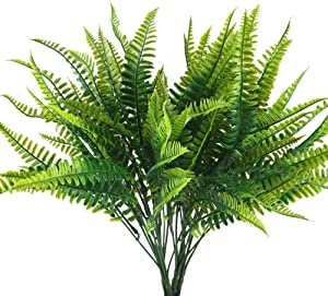 HUAESIN 4Pcs Artificial Fern Outdoor Faux Fern Plants Fake Boston Fern Plants Plastic Greenery Bushes Shrubs Bundles Patio Basket Pot Hanging Garden Planter Indoor Outside Decor 40cm