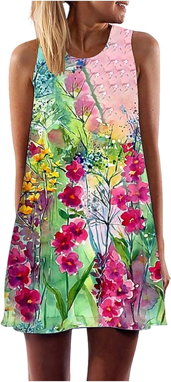 JPVDPA Women Casual Loose Summer Dress Girls Fashion 3D Flower Print Dress A-line Sleeveless Mini Dress