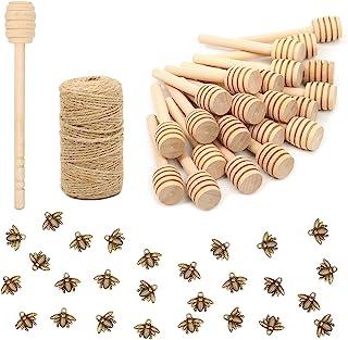 50 Pack 3 Inch Mini Wood Honey Dipper Sticks Set,Honey Stirrer Honey Wand for Honey Jar Dispense Drizzle Honey, 50 Pieces ...