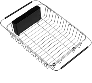 SANNO Expandable Dish Drying Rack,Over The Sink Adjustable Dish Drainer,Dish Rack in Sink On Counter Utensil Silverware St...