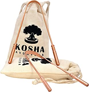 Kosha Ayurveda Copper Tongue Scraper Cleaner   Perfect Surgical Tongue Scraper   Best remedy for bad breath   Maintains Oral Hygiene   Thick & Safe Blunt Edges   Flexible handle and Comfortable Grip
