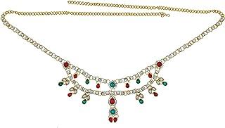 Memoir Brass Gold Plated, Colourful CZ and Kundan, Elegant Ethnic Kamarband Traditional Wedding Jewellery Women