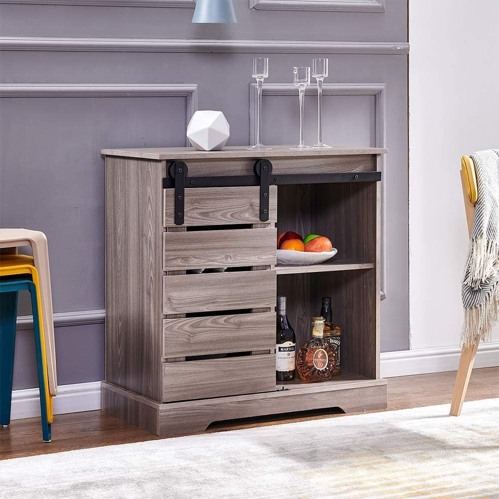 aHUMANs Accent Buffet Wooden Sideboard Farmhouse Storage Cabinet with Sliding Barn Door Antique Stackable Cabinet for Kitchen Dining Room Entryway Grey Walnut