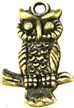 AM153 handmade craft jewelry making DIY finding earring necklace drop 50pcs antique bronze color 35x22mm metal owl bird pendant charm