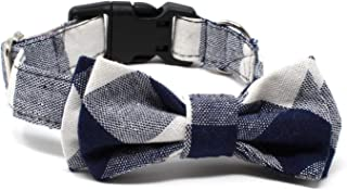 BCB Wear Dog Cotton Collar with Bow Tie - Fully Adjustable for Any Size Pet Large to Small