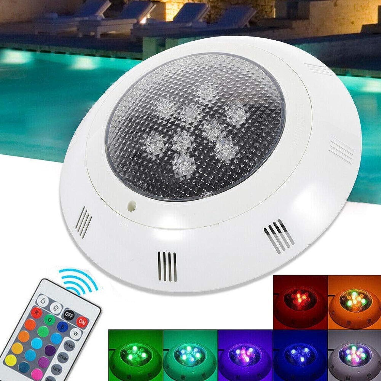 DGDD Unterwasser-LED-Pool-Licht RGB-Pool-Licht 12V 6W Lampe mit Fernbedienung wasserdicht