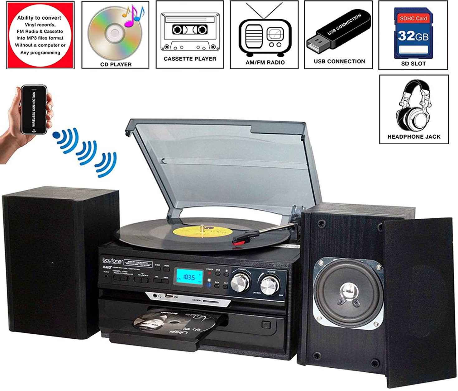 7-in-1 Boytone BT-24DJB Turntable with Bluetooth Connection, 3 Speed 33, 45, 78 Rpm, CD, Cassette Player AM, FM USB, SD Slot, Aux Input. Encoding Vinyl & Radio & Cassette To-MP3, Remote control