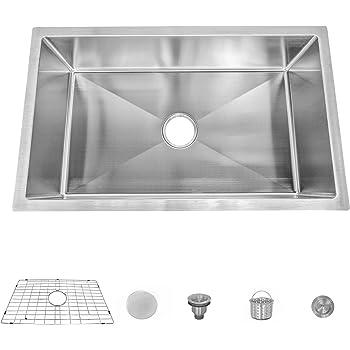MOCCOA 16 Gauge Stainless Steel Kitchen Sink, Undermount Single Bowl (Pro 30-Inch)