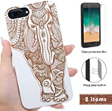 iProductsUS Elephant Phone Case Compatible with iPhone 8Plus, 7Plus, 6Plus, 6sPlus and Screen Protector-White Wood Phone Cases Engraved Elephant,Built-in Metal Plate,TPU Shockproof Covers (5.5