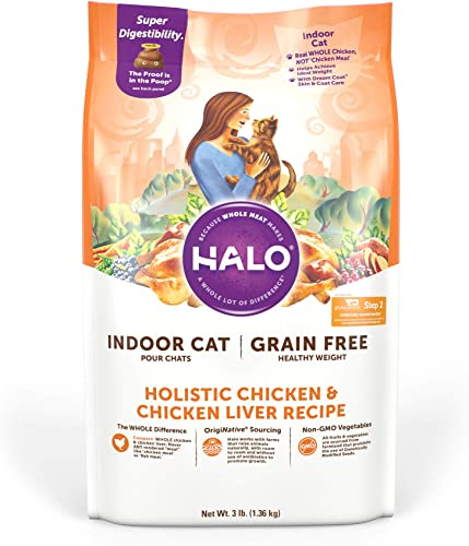 2021 Halo Grain Free Natural Dry Cat Food - high quality Indoor and Healthy Weight Recipe - Premium and Holistic new arrival Chicken & Chicken Liver - 3 Pound Bag - Non-GMO Adult Dry Cat Food - Real Whole Meat & Highly Digestible online
