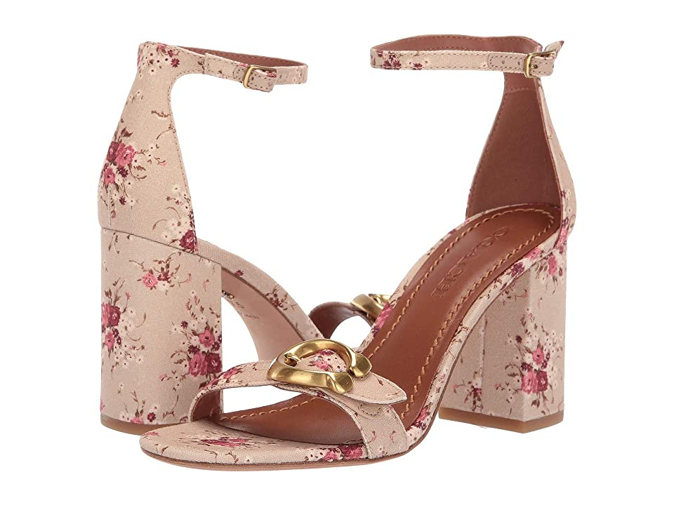 COACH Maya 85mm Sandal with Signature Buckle (Beechwood Multi/Beech Multi Canvas) High Heels