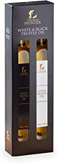 TruffleHunter Black & White Truffle Oil Gift Box Set (2 x 3.38 Oz) Real Truffle Pieces in Bottle - Gourmet Food Seasoning Marinade Salad Dressing - Vegan Kosher Vegetarian & Gluten Free