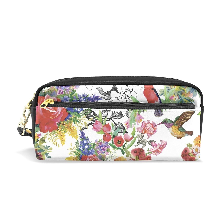 AOMOKI ペンケース 化粧ポーチ 小物入り 多機能バッグ レディース 花柄 薔薇 菊 鳥 カラフル