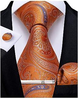 DiBanGu Men's Silk Tie Pocket Square Business Necktie Formal Woven Tie Cufflink Set