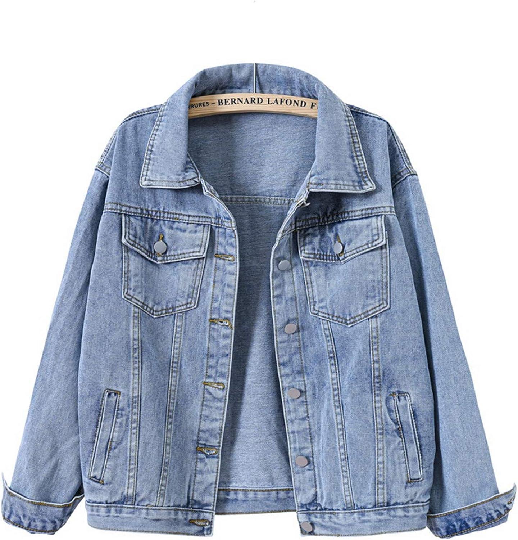 HALITOSS Oversized Denim Jacket Boyfriend Casual Outerwear Jean Jackets For Women
