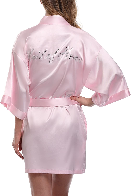 Expressbuynow Wedding Short Kimono Robe for Bride and Bridesmaids