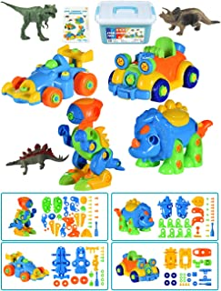 STEM Toys for Toddlers, Take Apart Toys of 2 Dinosaurs and 2 Cars, 3 Dinosaur Model Toys, Preschool Learning Toys for 3-6 Year Old Boys Girls Kids, Educational Gifts for Christmas Birthday, 111 Pieces