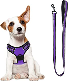 Dog Harness, No-Pull Pet Harness with a Matching dog Leash - Breathable Chest Padded Mesh Adjustable Reflective Dog Vest, ...