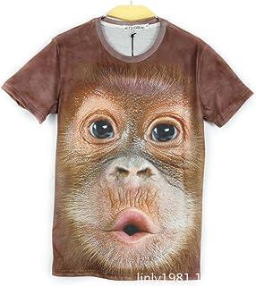 DYY Camiseta de Manga Corta 3D de Animales de impresión en Animales de Manga Larga/