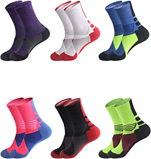 Boys Sock Basketball Soccer Hiking Ski Athletic Outdoor Sports Thick Calf High Crew Socks 6 Pack