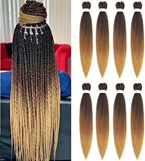 Ombre Pre Stretched Braiding Hair 8 بسته مو قهوه ای بافندگی مو 26 اینچ آسان بافته مو Hair Yaki Straight Water Hot Setting مصنوعی Ombre Broad Hair Extensions for Crochet Hair Braiding Twist (1B/30/27)