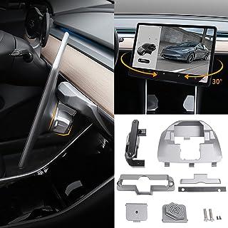 Bomely Fit 2017-2021 Tesla Model 3 Model Y Screen Rotating Holder Center Console Navigation Screen Swivel Mount Original Silver Bracket for Model 3 Model Y Accessories