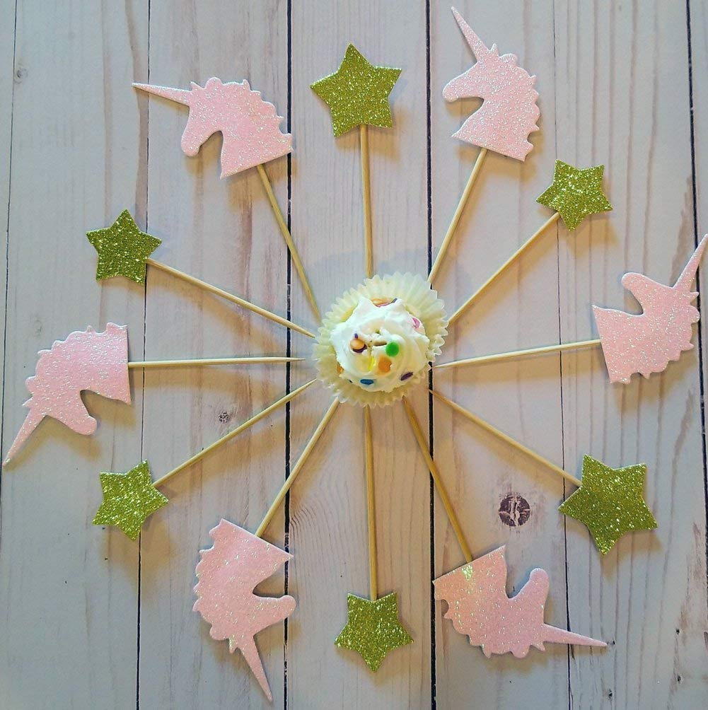 Laylabelle Pink Unicorn horn and New mail famous order Gold Cupcake 12 of Stars Set Ca