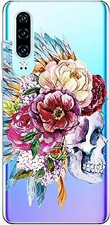 Oihxse beschermhoes voor Huawei Honor 8 Lite, transparant, TPU, doodskop, roze, motief design, ultradun, schokbestendig, E9